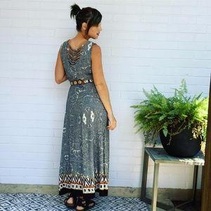 Vintage 1990's Laced-Back Paisley Print Maxi Dress
